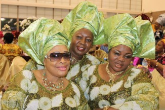 Alhaja Aregbesola, Mrs. Ghafari, and close family friend of the bride