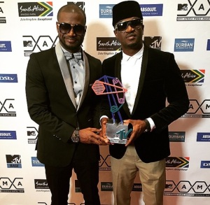 P-Square holding their award for Best Group.
