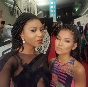 TV media personality, Stephanie, snaps a pic with Jhene Aiko.