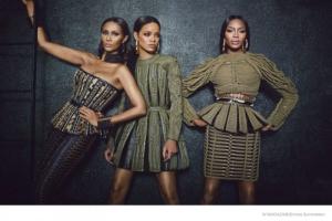 Iman, Rihanna, and Naomi Campbell in a photo shoot for Balmain