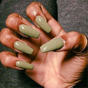 Olive colored nails are definitely trending this season!